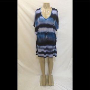 Calvin Klein Sz 6 Blue Ombré Batwing Sleeve Dress